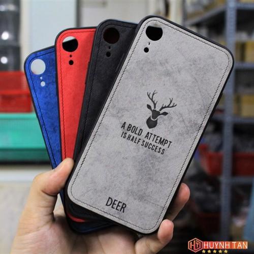 Ốp lưng iPhone XR Vân da khắc hình nai 3D ver2