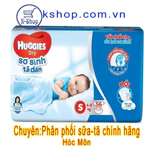 Tã dán sơ sinh Huggies Dry S56 miếng-MẪU MỚI Đệm Mây Co Giãn