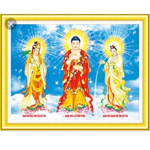 tranh đính đá Tam Thế Phật 130x95cm