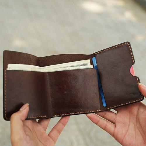 Ví da kẹp tiền nam đơn giản - Da bò nhập khẩu - Đồ da Handmade VI549
