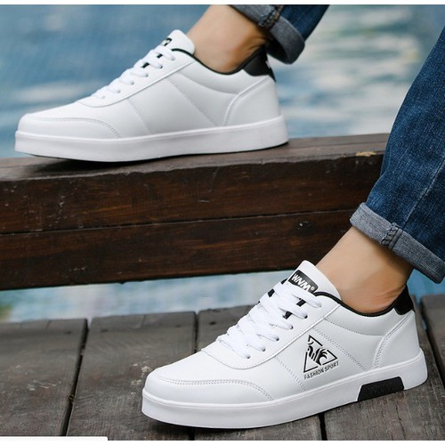 Giày thể thao trắng da cao cấp siêu mềm siêu nhẹ