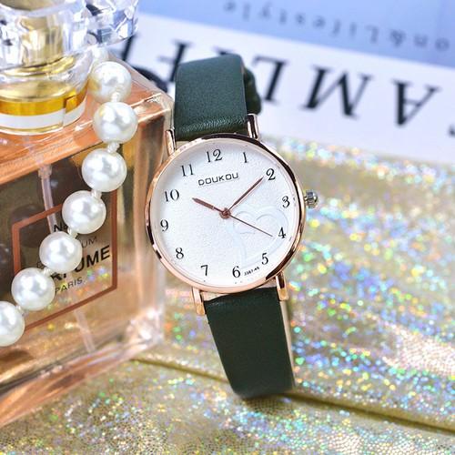Đồng hồ nữ DOUKOU 3367 dây da mặt tròn họa tiết trái tim AZ-DK3367
