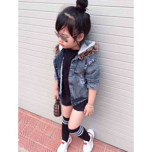 Áo khoác trẻ em - khoác bò lót lông cho bé siêu hot cho bé từ 9-25kg