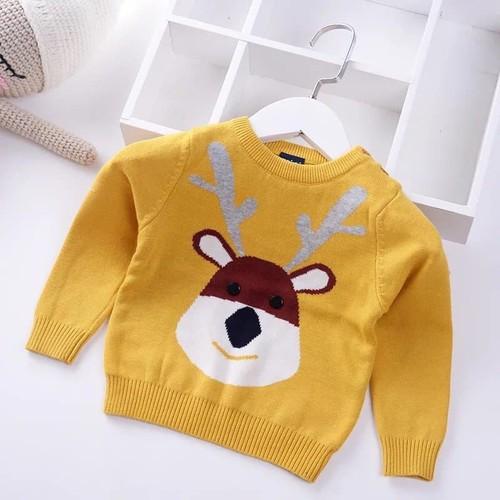 Áo len hình tuần lộc màu vàng xuất hàn cho bé 8-18kg