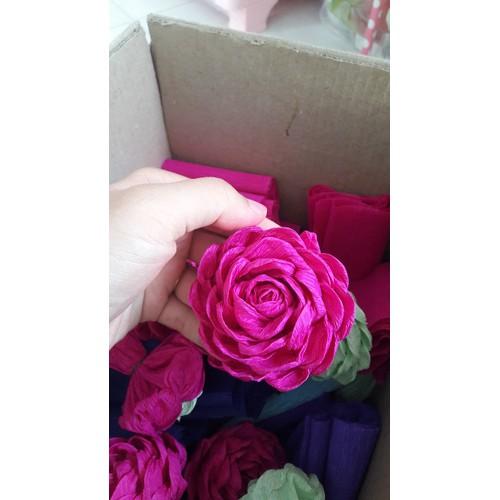 sỉ 50 bông hoa hồng xoắn giấy nhún