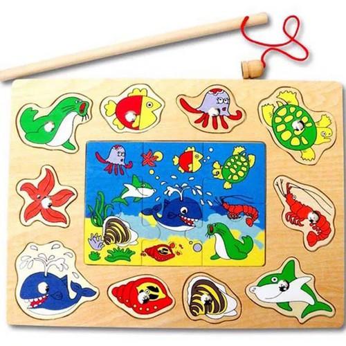 Bảng Ghép Hình Kết Hợp Câu Cá Nam Châm Bằng Gỗ Cho Bé