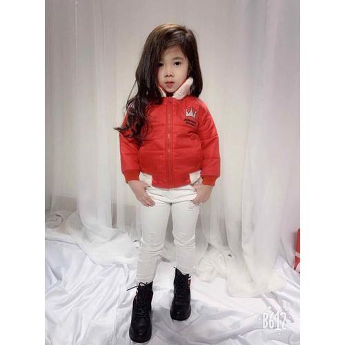 Áo khoác bé gái thêu hình vương miện - áo phao siêu ấm cho bé từ 9-25kg