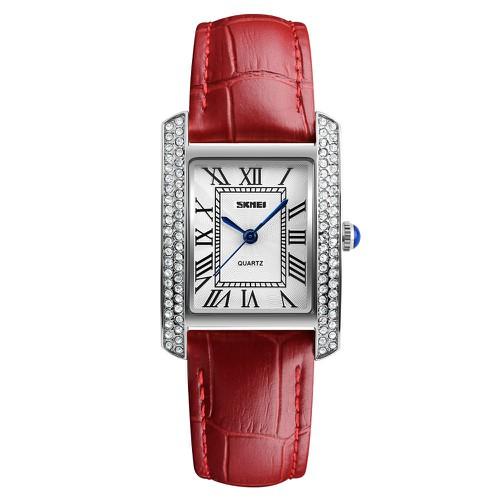 Đồng hồ nữ Skmei 1281 dây đỏ mặt trắng viền bạc chất liệu da cao cấp - 6710733 , 13396233 , 15_13396233 , 360000 , Dong-ho-nu-Skmei-1281-day-do-mat-trang-vien-bac-chat-lieu-da-cao-cap-15_13396233 , sendo.vn , Đồng hồ nữ Skmei 1281 dây đỏ mặt trắng viền bạc chất liệu da cao cấp