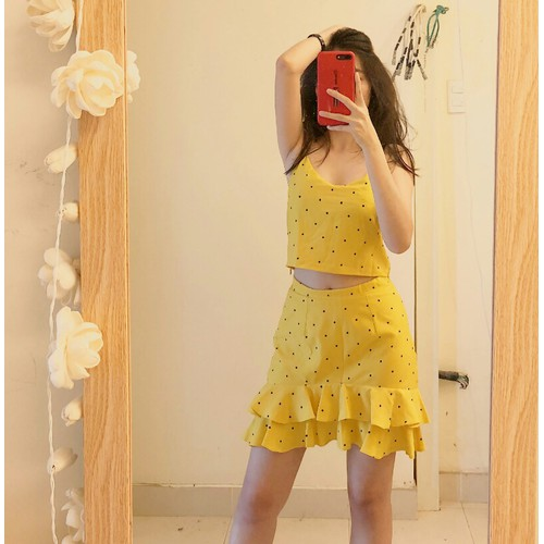 Set áo chân váy bèo vàng chấm bi đen