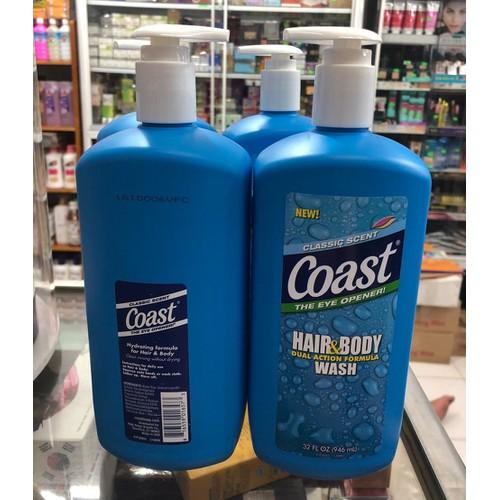 SỮA TẮM GỘI CHO NAM COAST HAIR AND BODY WASH 946ML