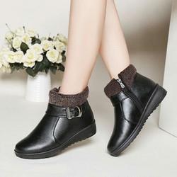 Giày boot nữ cổ thấp phối lông