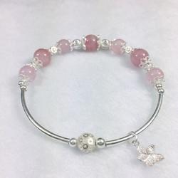 Vòng đá thạch anh hồng tự nhiên mix phụ kiện bạc cho nữ