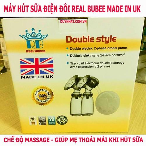 Máy hút sữa dùng điện đôi Real Bubee - Máy hút sữa Anh Quốc