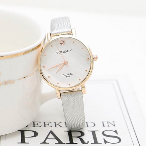 Đồng hồ nữ GOGOEY 5080 mặt tròn size 28mm dây da mềm cao cấp