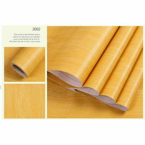 10m giấy dán tường khổ 45cm họa tiết gỗ vàng