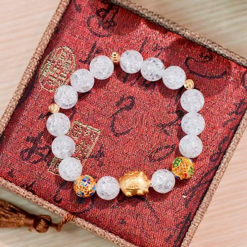 Vòng Phong Thủy - Vòng Phong Thủy nữ tuyết thạch anh trắng cho người tuổi Hợi V113-10