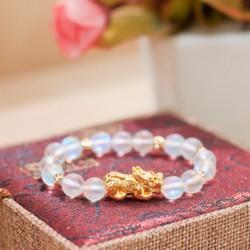 Vòng phong thủy - Vòng Phong Thủy nữ đá ánh trăng mix  tỳ hưu - Moonstone size 8 ly V110-8