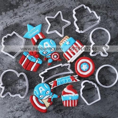Bộ nhấn nhựa 8 hoạt hình Captain America
