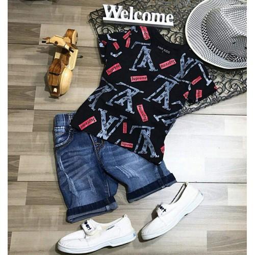 Set bộ bé trai áo thun in hoạ tiết quần jeans 8_24kg