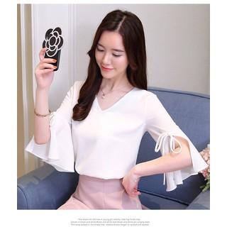 HÀNG CAO CẤP _ÁO CỔ V TAY LOE SANG CHẢNH - KN7998 thumbnail