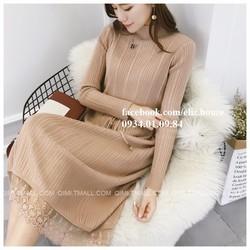 Đầm len vạt ren phong cách Hàn Quốc