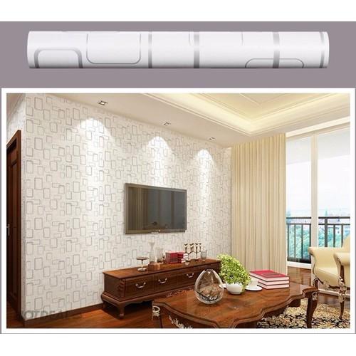 10m giấy dán tường khổ 45cm họa tiết hình chữ nhật trắng