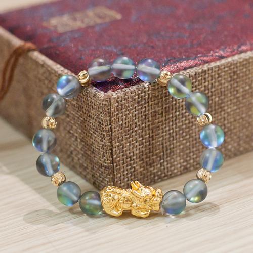 Vòng phong thủy - Vòng Phong Thủy nữ đá ánh trăng mix tỳ hưu - Moonstone nhân tạo size 8 ly V110-8