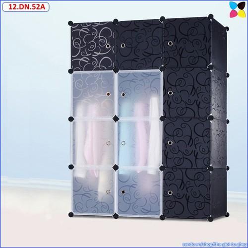 Tủ ghép nhựa 12 ô đen, cánh đen- trong