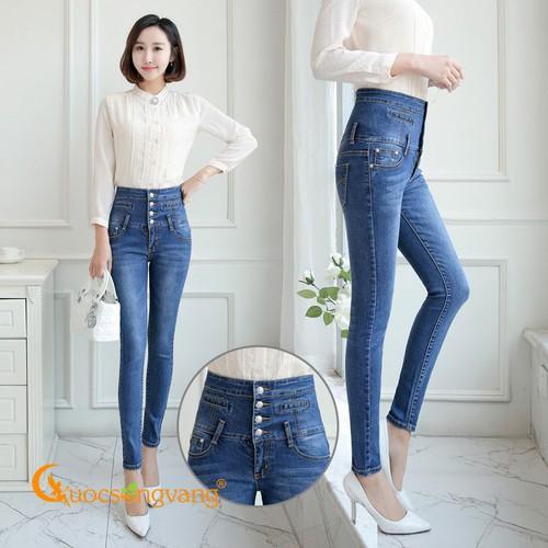Quần jean nữ lưng cao 4 nút quần nữ eo cao co giãn GLQ099