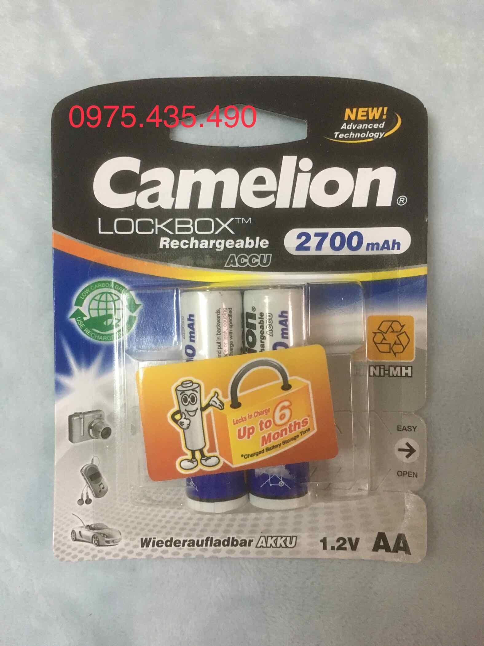 Pin Sạc AA Camelion 2700 mAh NH-AA2700LP2 LockBox Rechageable Vỉ 2 Viên