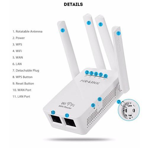 Bộ kích sóng WiFi 4 râu cao cấp