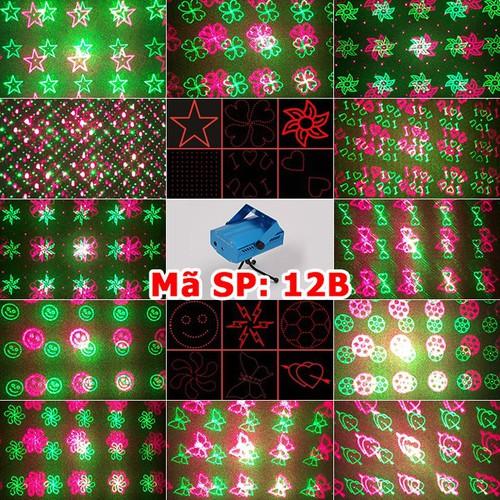 Đèn Laser 12in1 Mini đèn sân khấu, vũ trường, trang trí phòng Karaoke cảm biến theo nhạc