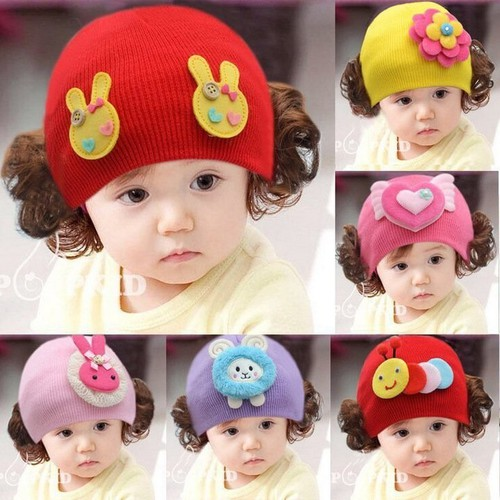 Mũ len tóc giả bé gái