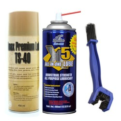 Bộ sản phẩm bôi trơn chống sét X5 400ml, chai vệ sinh sên TS-40 450ml và bàn chải vệ sinh sên 3D