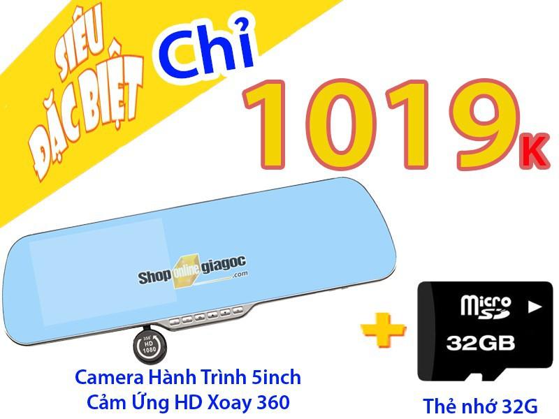Combo Camera Hành Trình 5Inch Cảm Ứng HD Xoay 360 + Thẻ Nhớ 32G 2