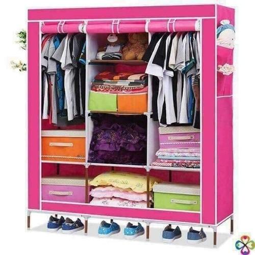 tủ vải khung gỗ 3 buồng 8 ngăn