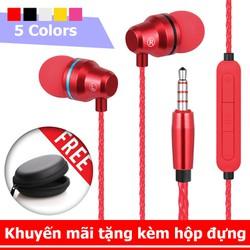 Tai nghe nhét tai cao cấp L1 có mic, dây siêu bền, khuyến mãi tặng hộp đựng + nút tai