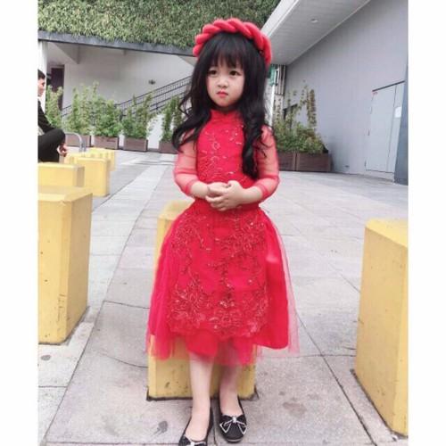 Áo dài cách tân Thêu ren cho bé, kèm chân váy và mấn |Form nhỏ