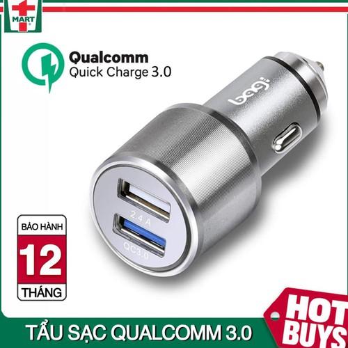 Củ sạc nhanh Qualcomm 3.0 cho Ô tô gồm 2 cổng USB có báo hiệu đèn LED