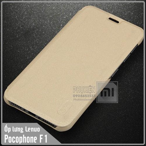 Bao da Xiaomi Pocophone F1 giả da PU Lenuo nhựa dẻo - vàng