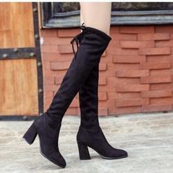 Giày bốt cổ cao da lộn gót trụ 7cm