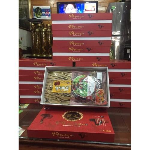 Nấm linh chi vàng và táo đỏ hộp quà biếu cao cấp