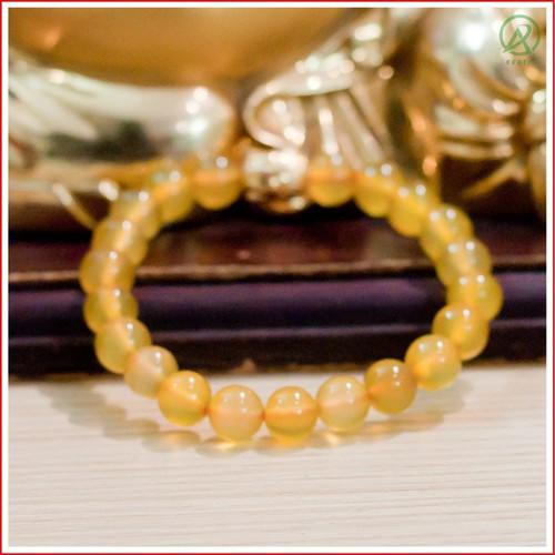 Vòng Phong Thủy Mã Não Agat Vàng Mặt Phật 8 mm V16-08