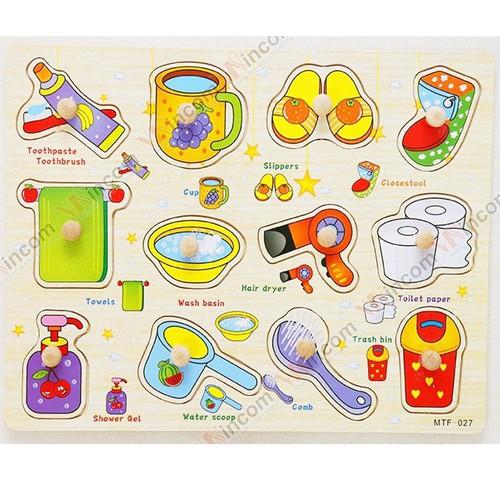 Đồ chơi gỗ an toàn cho bé - Bảng Ghép Hình Các Công Cụ Nhà Tắm