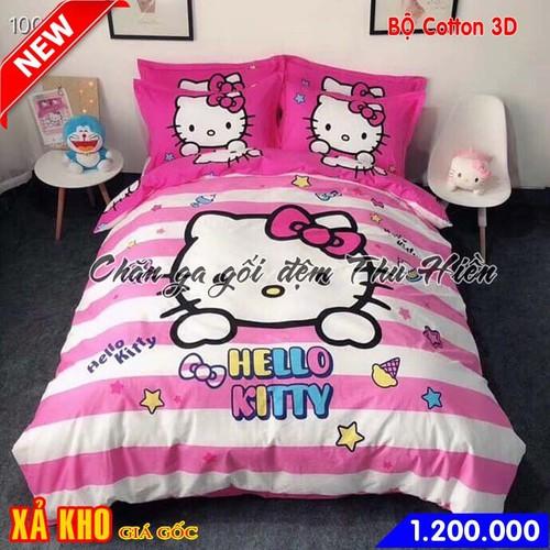 Bộ chăn ga gối cotton 3D cho bé hình mèo Hello Kitty