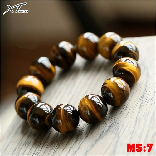 Vòng đá mắt hổ nâu MS07 - 12 Ly, vòng tay phong thủy hợp mệnh mộc, thổ, kim cho nam và nữ 12 ly