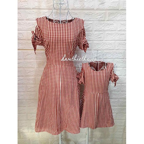 Đầm mẹ và bé sọc caro đỏ - Hàng thiết kế - Đủ size