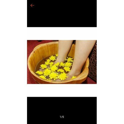 Chậu Ngâm chân Thảo dược gỗ thông- Bồn Massage chân