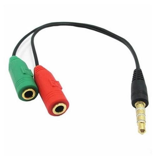 Cáp chia Audio 3.5mm ra mic và loa Đen