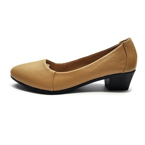 Giày Cao Gót Đẹp Cao 3cm Dễ Thương Da Bò Thật Siêu Mềm 3P02SF - Đen - Kem